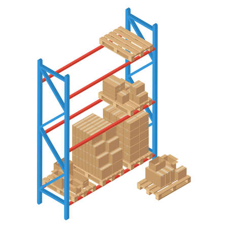 Isometric racks with pallet and box. Vector warehouse shelving. Isolated on white background. Logistic and delivery service element for web and infographics.