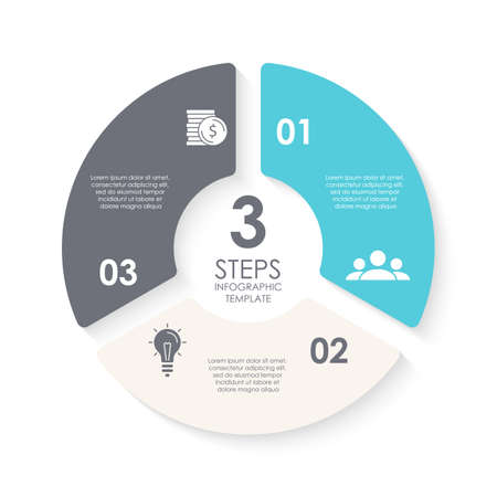 Vector circle infographic template for round diagram, graph, web design. Business concept with 3 steps, options or processes. Isolated on white background.