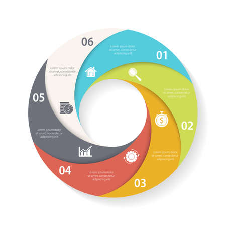 Vector circle infographic template for round diagram, graph, web design. Business concept with 6 steps, options or processes. Isolated on white background.