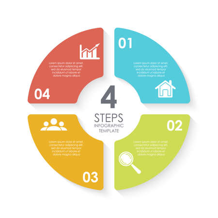Vector circle infographic template for round diagram, graph, web design. Business concept with 4 steps, options or processes. Isolated on white background.