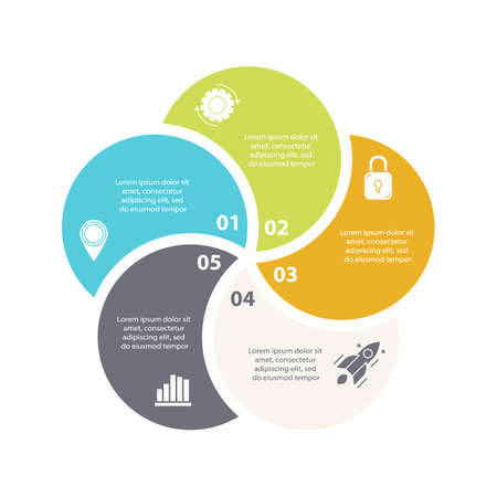 Vector infographic with 5 steps, options or processes. Template for diagram, graph, workflow, web design. Business concept isolated on white background.