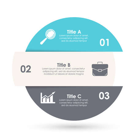 Vector infographic with 3 steps, options or processes. Template for diagram, graph, workflow, web design. Business concept isolated on white background.