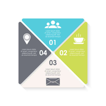 Vector infographic with 4 steps, options or processes. Template for diagram, graph, workflow, web design. Business concept isolated on white background.