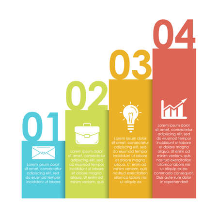 Template infographic with 4 steps or options. Design can be used for diagram, chart, presentation or web. Business concept isolated on white background.