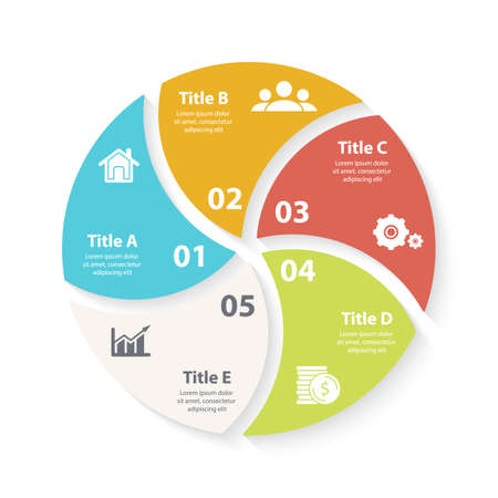 Vector circle chart infographic template for round cycle diagram, graph, web design. Business concept with 5 steps, options or processes. Abstract background. Иллюстрация