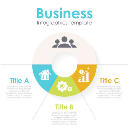 Vector circle chart infographic template for round cycle diagram, graph, web design. Business concept with 3 steps, options or processes. Abstract background.