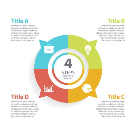 Vector circle chart infographic template for round cycle diagram, graph, web design. Business concept with 4 steps, options or processes. Abstract background.
