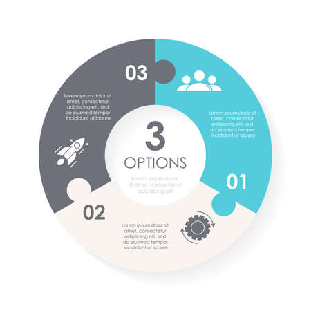 Vector circle chart infographic template for round diagram, graph, web design. Puzzle business concept with 3 steps, options or processes. Abstract background. Иллюстрация