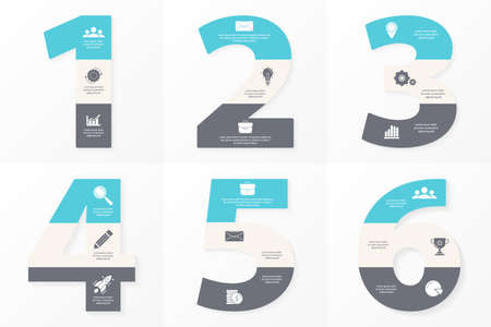 Set of business infographic template. Design with numbers, 6 options or steps. Vector illustration.