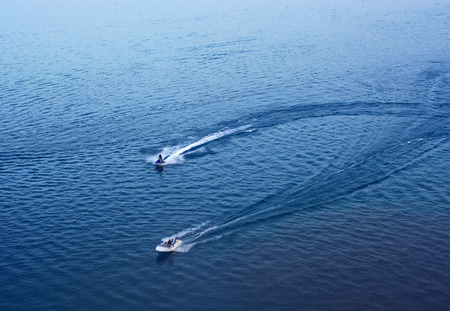 motor boats: 2 motor boats on the lake