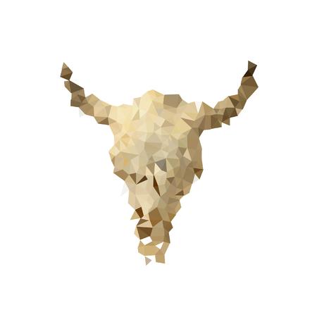 Schedel of skelet silhouet. Elanden en reeën, bizons of berggeiten. Dieren met hoorns., Driehoek veelhoek ontwerp, vector achtergrond Stock Illustratie