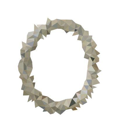 grey geometric border, triangle polygon design, vector background