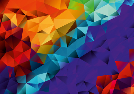 Abstract orange, red, purple, blue geometric background, vector Ilustração