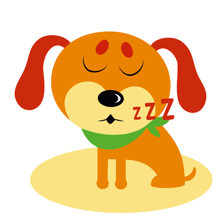 Vector illustration of funny sleeping cartoon dog.