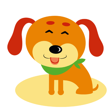 Vector illustration of funny cartoon dog. Isolated on white. Happy smile.