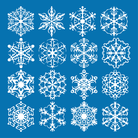 Snowflake vector icon background set blue color. Winter white christmas snow flake crystal element. Weather illustration ice collection. Xmas frost flat isolated silhouette symbol Ilustracja