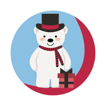 New Year Characters. Funny happy bear with black hat, scarf and gift.Beautiful vector illustration with nice, smiling  bear. Christmas card, poster. Stock vector.  イラスト・ベクター素材
