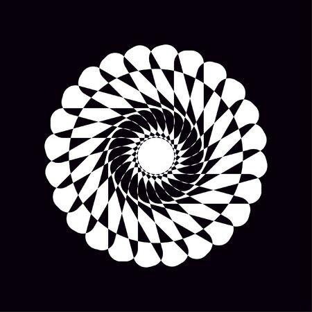 White circles lines pattern radial desig on black background.