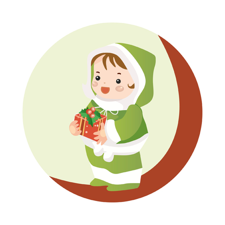 Cute girl holding big ribbon bow wrapped gift box in front of her in arms. Round icon. Vector illustration.