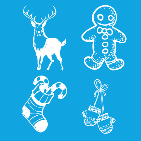 Christmas flat icons set drawing with lines. Outline symbols of Happy New Year, Xmas holiday celebration. Winter vacation. Editable stroke. Vector illustration. Christmas party set. Blue background.