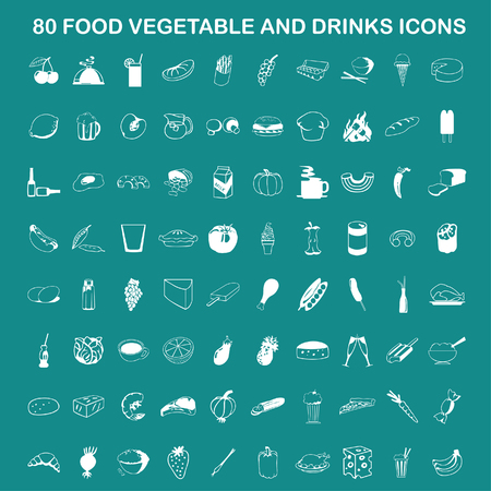 Vector Food, Vegetable and Drinks Icon Set On Flat UI Color Background