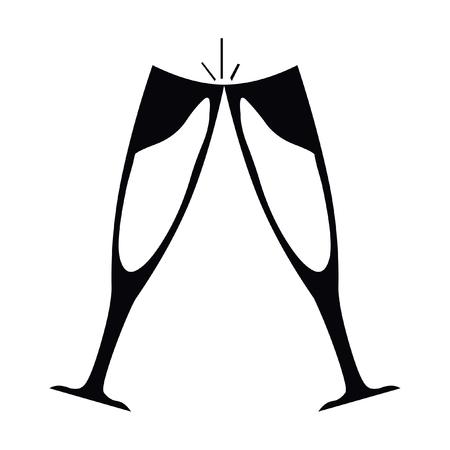 Wine glasses icon. Simple illustration of wine glasses icon for web Illustration