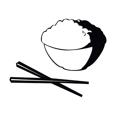 Chinese cuisine food meal with chopsticks vector icon