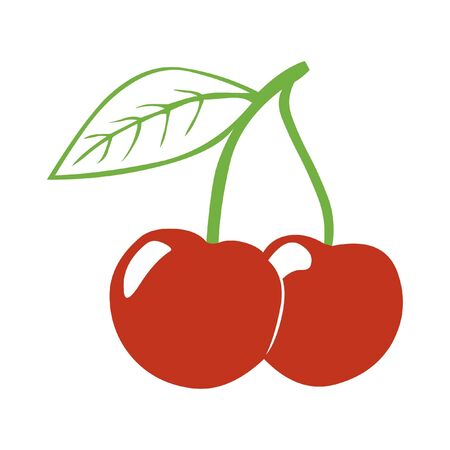 Red cherry icon isolated on white.