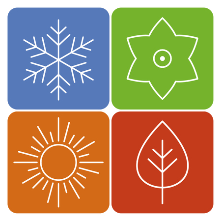 A set of four seasons icons. The seasons - winter, spring, summer and autumn. Vector icon for web. Vector illustration