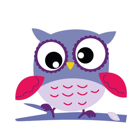 Pink Owl Sitting on a Branch, Abstract Background, Cartoon Character Isolated on White Vector Illustration EPS 10