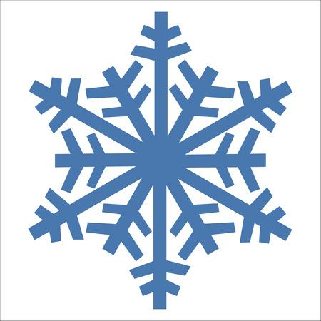 Colore blu dell'icona di vettore del fiocco di neve. Elemento cristallo bianco fiocco di neve invernale di Natale bianco. Raccolta del ghiaccio dell'illustrazione del tempo. Simbolo della siluetta isolato piano del gelo di natale.