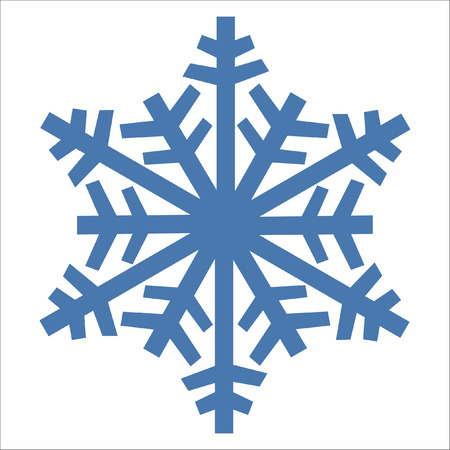 Snowflake vector icon blue color. Winter white Christmas snow flake crystal element. Weather illustration ice collection. Xmas frost flat isolated silhouette symbol.