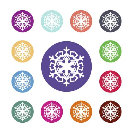 Snowflake icon. Air conditioning symbol. Colored circle buttons with flat web icon. Vector Round colourful buttons Stock Illustratie