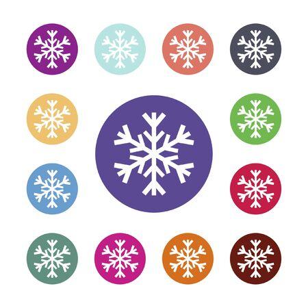 Sneeuwvlok pictogram. Airconditioning symbool. Gekleurde cirkel knoppen met platte web pictogram. Vector ronde kleurrijke knoppen Stock Illustratie