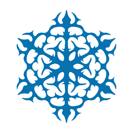 Snowflake vector icon blue color. Winter white christmas snow flake crystal element. Weather illustration ice collection. Xmas frost flat isolated silhouette symbol