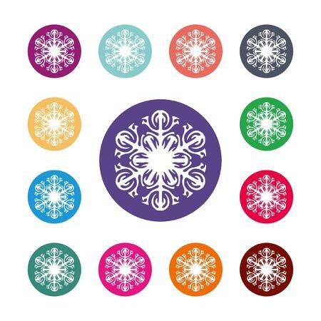 Sneeuwvlok pictogram. Airconditioning symbool. Gekleurde cirkel knoppen met platte web pictogram. VectorRound kleurrijke knoppen