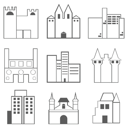 Gebäude Icons Set isoliert auf weiss Standard-Bild - 93460414