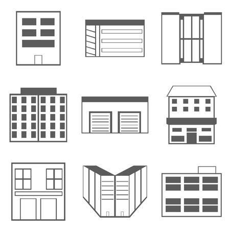 Gebäude Icons Set isoliert auf weiss Standard-Bild - 93460419