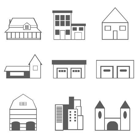 Gebäude Icons Set isoliert auf weiss Standard-Bild - 93460415