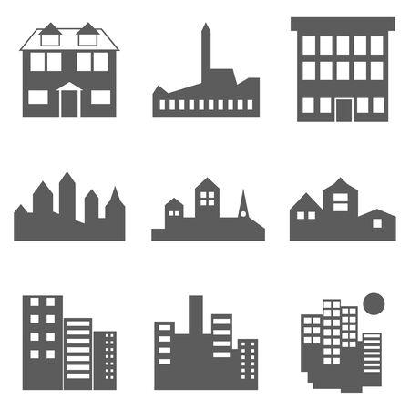 Gebäude Icons Set isoliert auf weiss Standard-Bild - 93460416