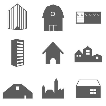 Gebäude Icons Set isoliert auf weiss Standard-Bild - 93460420