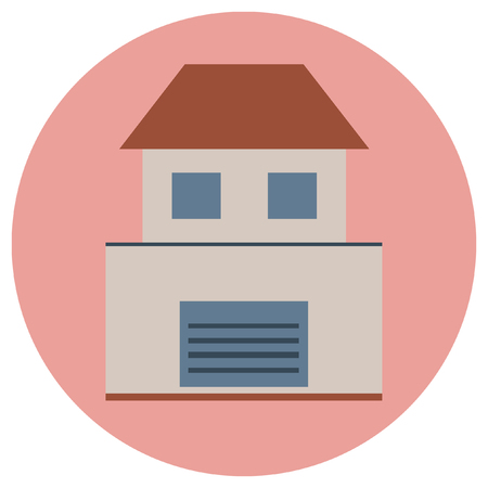 Building Round Icons. Vector illustration style is flat iconic symbol, pink background.