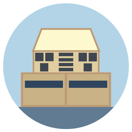 Building Round Icons. Vector illustration style is flat iconic symbol, blue background.