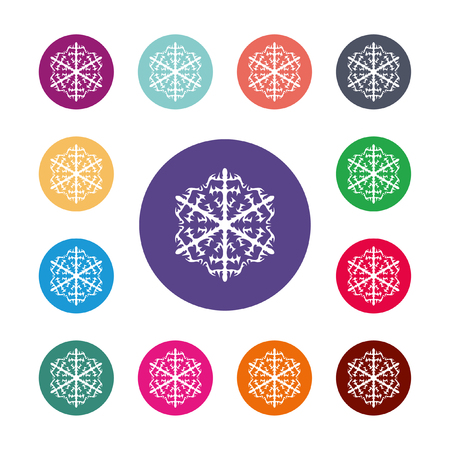Snowflake icon. Air conditioning symbol. Colored circle buttons with flat web icon. VectorRound colourful buttons