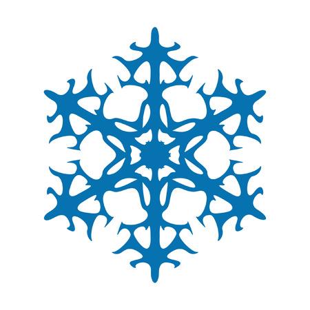 Sneeuwvlok vector pictogram blauwe kleur. Winter witte kerst sneeuwvlok kristal element. Weer illustratie ijs collectie. Xmas vorst plat geïsoleerde silhouet symbool Stock Illustratie
