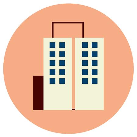 Building round icons. Vector illustration style is flat iconic symbol, pink background. Ilustração