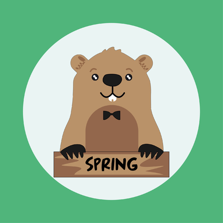 Funny groundhog on round green background with spring card. Vector Design with Cute Marmot Character - Advertising Poster or Flyer Template Illustration