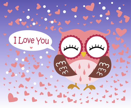 Happy Valentines Day! Valentines Day card with cute flat pink owl on gradient blue background. Vector illustration. I Love you. Illustration