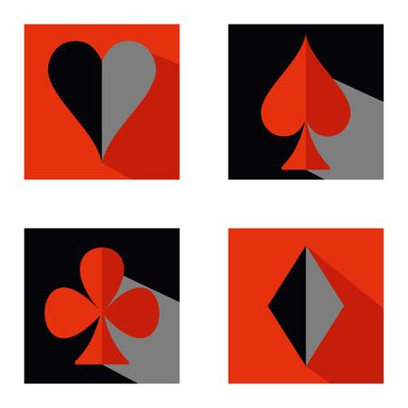 Satz Spielkarteanzug-Ikonensymbole des Vektors. Rotes und schwarzes Quadrat flach. Herzen, Pik, Diamanten, Keulen. Standard-Bild - 94111418