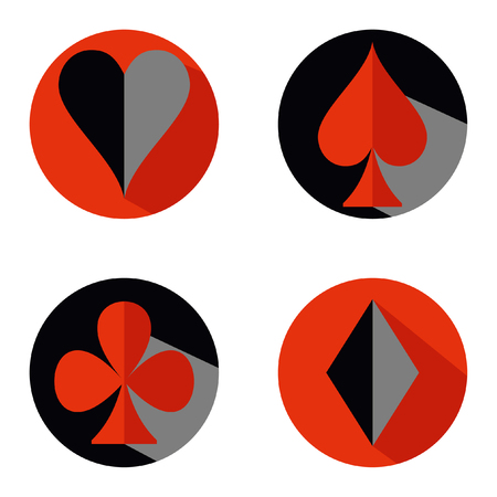 Set of vector playing card suit icon symbols. Red and black round flat. Hearts, Spades, Diamonds, Clubs. Illustration